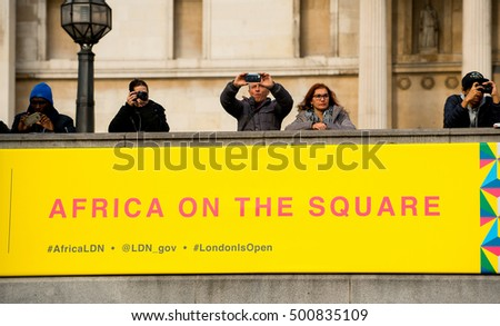 London, UK. 15th October 2016. EDITORIAL - The Africa On The Square Festival at Trafalgar Square, London. Annual event showcasing culture from across the continent of Africa, attracted many visitors.