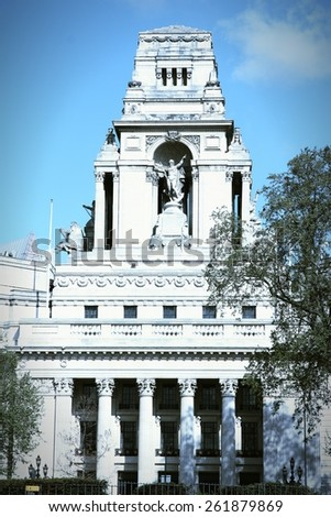 London, UK - Trinity House, old British monument. Cross processed vintage photo filtered tone. - stock photo