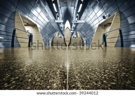 London Underground Modern tube station at London. - stock photo