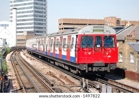London Underground train approaching the station