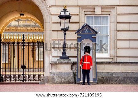 London, United Kindom. April 10,2017. Queen's Guard Standing in front of Buckingham Palace