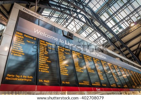 LONDON, UNITED KINGDOM - APRIL 8, 2016: A travel timetable inside Liverpool Street Station on April 7, 2016 in London, UK. The annual rail passenger usage between 2011 - 2012 was 13.835 million. - stock photo