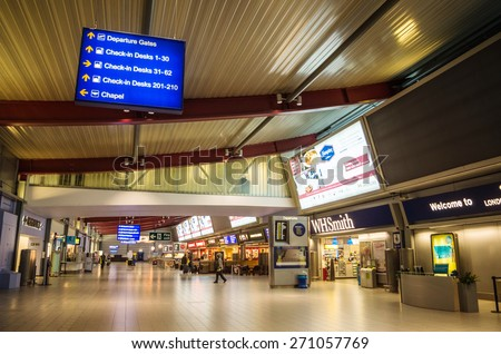 LONDON, UNITED KINGDOM - April 12, 2015: Empty Luton airport in London, UK - stock photo