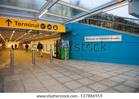 LONDON, UNITED KINGDOM - APRIL 9: Entrance of Stansted airport on April 9, 2013 in London, UK. It was the 4th busiest airport in the UK with 17.4 million passengers. - stock photo