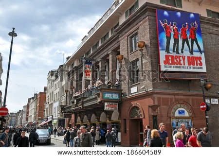 LONDON, UNITED KINGDOM - APRIL 22, 2012: Jersey Boys at the Prince Edward Theatre, based on the music of Frankie Valli & The four Seasons  is the most popular Musical on the West End. - stock photo