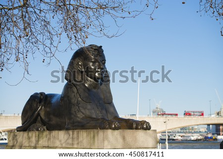 London, United Kingdom - April 02, 2013: Sphinx statue by the River Thames along the London Embankment - stock photo