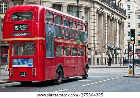 LONDON, UNITED KINGDOM - 26 APRIL, 2015: Typical red bus in London, United Kingdom on 26 April, 2015. - stock photo