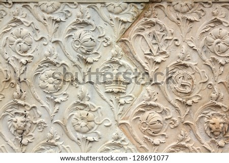London, United Kingdom - architecture background of Victoria and Albert Museum exterior ornaments
