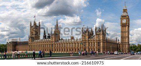 LONDON, UNITED KINGDOM - AUGUST 4: The Palace of Westminster on August 4, 2014 in London. The Palace of Westminster is the Parliament of the United Kingdom. - stock photo