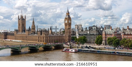 LONDON, UNITED KINGDOM - AUGUST 4: The Palace of Westminster on August 4, 2014 in London. The House of Commons and the House of Lords, the two houses of the Parliament of the United Kingdom. - stock photo