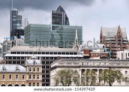 London, United Kingdom - cityscape with modern buildings - stock photo
