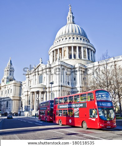 LONDON, UNITED KINGDOM - DEC 29: St.Paul's Cathedral on December 29, 2013 in London, UK.  - stock photo