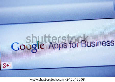 LONDON, UNITED KINGDOM - FEB 26, 2014: Google Apps for Business advertising as seen on a display. A service from Google that provides independently customizable versions of several Google products - stock photo