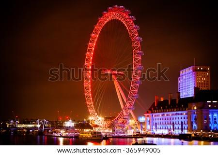 LONDON, UNITED KINGDOM - JANUARY, 2016: Famous London Eye big wheel at night - stock photo