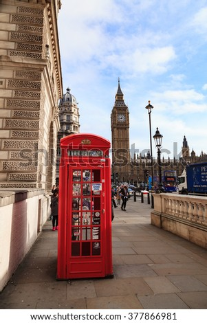 LONDON, UNITED KINGDOM - 25 JANUARY 2016: Traditional Red Telephone Box and Big Ben in London, UK - stock photo
