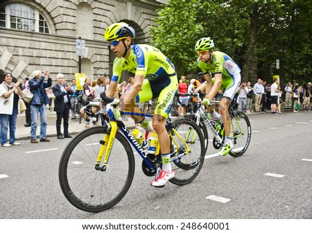 LONDON, UNITED KINGDOM - JULY 7: Hernandez Blazquez of team Tinkoff Saxo during Stage 3 of the Tour de France on July 7, 2014 in London, UK. The TDF is the world's most famous cycling race. - stock photo