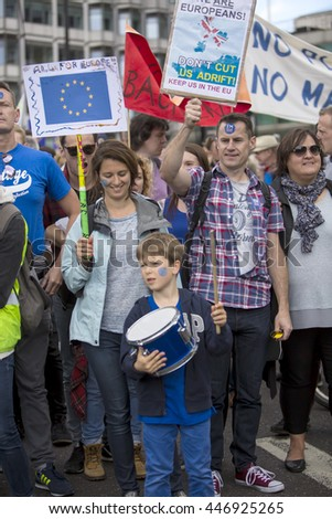 London, United Kingdom - July 2, 2016: March for Europe. Following the close result in the recent referendum in the UK, the 48% marched today to call for a resolution of the issue.