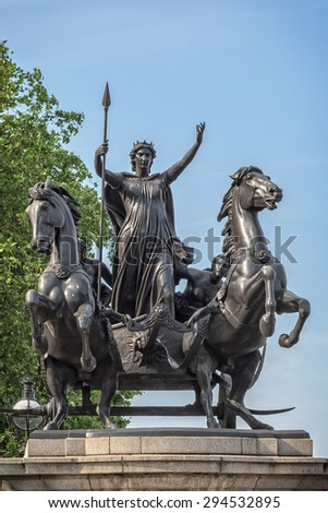 London, United Kingdom - 3 July, 2015: Monument in memory of Boudicca - Queen of the British tribe Iceni, who led revolt against the Romans in AD 60-61.
