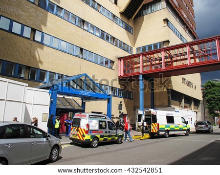 LONDON, UNITED KINGDOM - JULY 19, 2012: St Mary's Hospital, Imperial College Healthcare NHS Trust. It is one of the largest National Health Service trusts in England. - stock photo