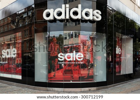 LONDON, UNITED KINGDOM - JUNE 21, 2015: Adidas store. Adidas s a German multinational corporation that designs and manufactures sports clothing and accessories.