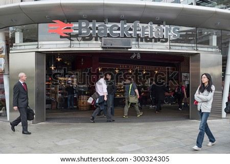 LONDON, UNITED KINGDOM - JUNE 16, 2015: Blackfriars rail Station. The Underground system serves 270 stations and has 402 kilometres (250 mi) of track, 45 per cent of which is underground. - stock photo