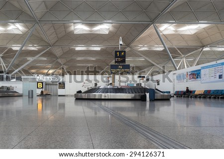 LONDON, UNITED KINGDOM - JUNE 2015: Conveyor belt in Stansted airport. It was the 4th busiest airport in the UK with 17.4 million passengers. - stock photo