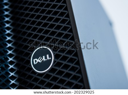 LONDON, UNITED KINGDOM - JUNE 30, 2014: Dell Computers logo on a 2014 server line, as seen on june 30, 2014. Dell server machines come configured as tower, rack-mounted, or blade servers - stock photo