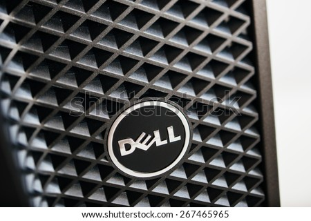 LONDON, UNITED KINGDOM - JUNE 30, 2014: Dell Computers logo on a workstation, as seen on june 30, 2014. Dell workstations machines come configured as tower, rack-mounted or notebooks