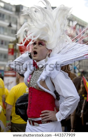 London, United Kingdom - June 25, 2016: Gay Pride London 2016. The 44th annual gay pride march was held in London. There was a sense of joy and sense of belonging.