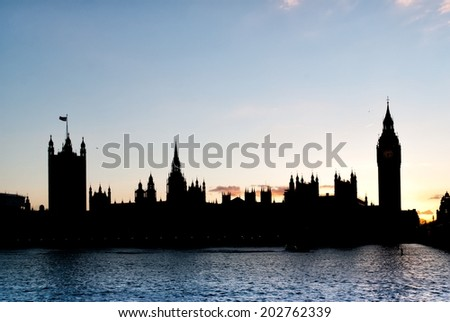 LONDON, UNITED KINGDOM - MARCH 24: Silhouette of the Elizabeth Tower on March 24, 2014 in London. The Clock Tower, named in tribute to Queen Elizabeth II in her Diamond Jubilee, known as Big Ben. - stock photo