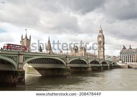 LONDON, UNITED KINGDOM - MARCH 24: The Elizabeth Tower, Big Ben in London on March 24, 2014. The Clock Tower, named in tribute to Queen Elizabeth II in her Diamond Jubilee, known as Big Ben. - stock photo