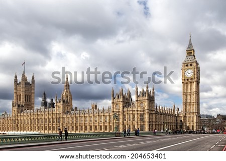 LONDON, UNITED KINGDOM - MARCH 24: The Elizabeth Tower on March 24, 2014 in London. The Clock Tower, named in tribute to Queen Elizabeth II in her Diamond Jubilee, more popularly known as Big Ben. - stock photo