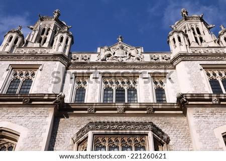 London, United Kingdom - Maughan Library building, part of King's College. - stock photo