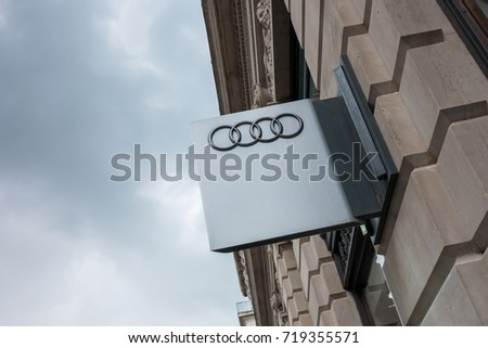 LONDON, UNITED KINGDOM MAY, 2017: Audi emblem store logo. Audi is a German automobile manufacturer that designs, engineers, produces, markets and distributes luxury automobiles