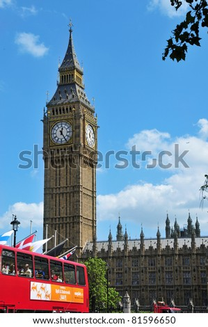 LONDON, UNITED KINGDOM - MAY 9: Big Ben and Westminster Palace on May 9, 2011 in London, UK. The Big Ben tower, with 96.3 metres high, is the most important attraction of London