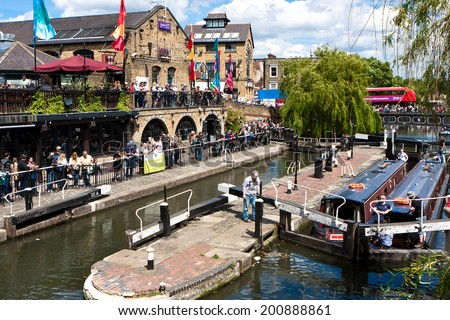 LONDON, UNITED KINGDOM - MAY 25, 2014: Camden Lock, or Hampstead Road Locks is a twin manually operated lock on the Regent's Canal in Camden Town, London Borough of Camden in may 25, 2014. - stock photo