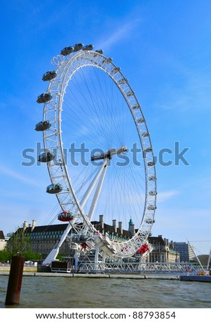 LONDON, UNITED KINGDOM - MAY 6: London Eye on May 6, 2011 in London, United Kingdom. It is the tallest Ferris wheel in Europe at 135 meters - stock photo
