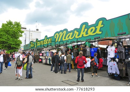 LONDON, UNITED KINGDOM - MAY 8: The Camden Market on May 8, 2011 in London, United Kingdom. It is the fourth-most popular visitor attraction in London, with approximately 100,000 people each weekend. - stock photo