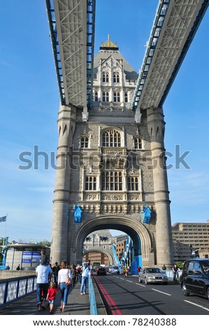 LONDON, UNITED KINGDOM - MAY 6: Tower Bridge on May 6, 2011 in London, UK. The bridge, iconic symbol of London, is 244 meters in length with two towers each 65 meters high