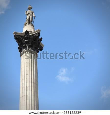 London, United Kingdom - Nelson's Column at Trafalgar Square. Square composition. - stock photo