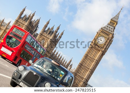 LONDON, UNITED KINGDOM - OCTOBER 27, 2013: Famous Black Cab on Westminster Bridge with Big Ben and Palace of Westminster on background - stock photo