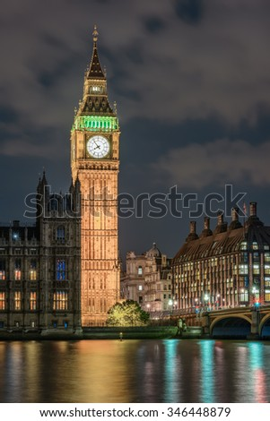London, United Kingdom - October 20, 2015: Palace of Westminster in London at night as seen on 20th of October, 2015