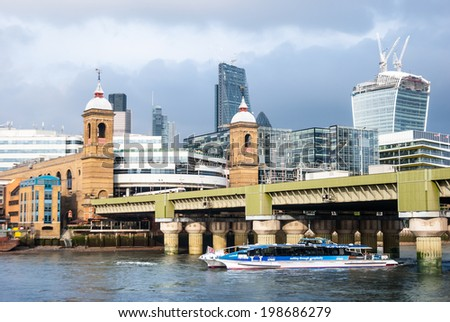 London, United Kingdom - October 2, 2013: Panorama of London - view from the river Thames towards skyscrapers in the City of London.