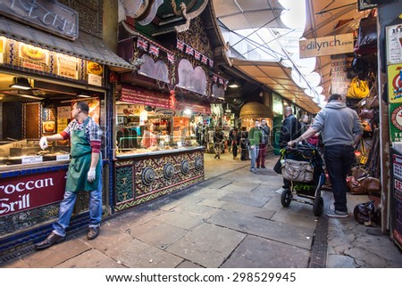 LONDON, UNITED KINGDOM - OCTOBER 10, 2014:  View of The Stables at Camden Markets in London.  - stock photo