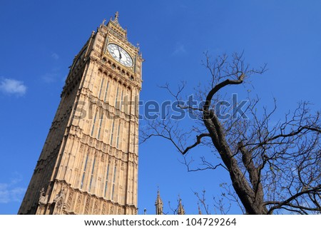 London, United Kingdom - Palace of Westminster (Houses of Parliament) Big Ben clock tower. UNESCO World Heritage Site.