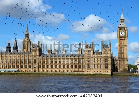 London, United Kingdom - Palace of Westminster with ominous crows.