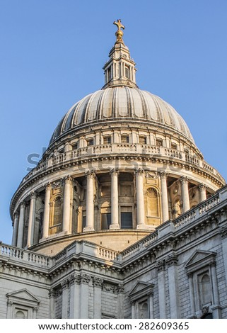 LONDON, UNITED KINGDOM - SEPTEMBER 22ND, 2014: The dome of St Pauls' Cathedral was first opened in 1708 and it is now a major tourist attraction in the City of London.