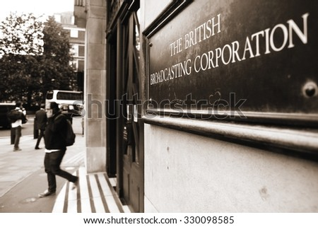 London, United Kingdom - September 10, 2015: Sign at an entrance to the British Broadcasting Corporation's building at Portland Place in London. - stock photo