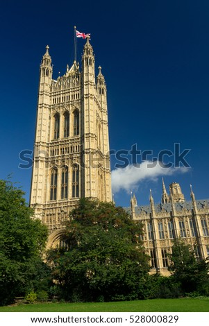 London, United Kingdom - September 11, 2011: The House of Parliament viewed from the Victoria Tower Gardens, a public park along the north bank of the River Thames in London.