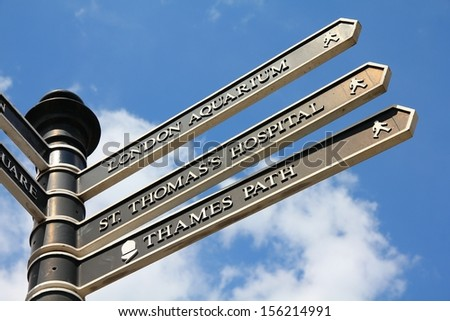 London, United Kingdom - sign with directions to landmarks - stock photo
